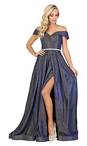 Image of faux-wrap off-the-shoulder long sparkly prom dress. Style: DQ-2824 Detail Image 5