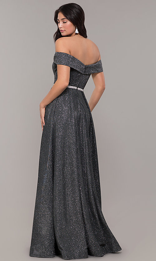 Image of faux-wrap off-the-shoulder long sparkly prom dress. Style: DQ-2824 Detail Image 4