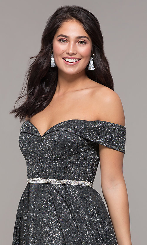 Image of faux-wrap off-the-shoulder long sparkly prom dress. Style: DQ-2824 Detail Image 1