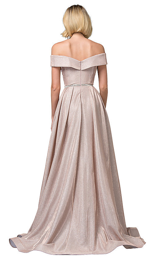 Image of faux-wrap off-the-shoulder long sparkly prom dress. Style: DQ-2824 Back Image
