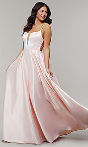 Image of scoop-neck long strappy-open-back prom dress. Style: JT-687 Detail Image 3