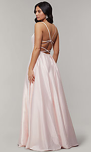 Image of scoop-neck long strappy-open-back prom dress. Style: JT-687 Detail Image 4