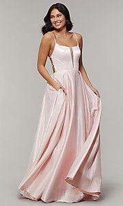 Image of scoop-neck long strappy-open-back prom dress. Style: JT-687 Detail Image 7