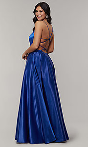 Image of scoop-neck long strappy-open-back prom dress. Style: JT-687 Front Image