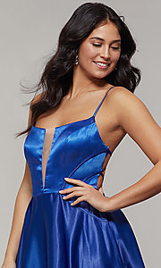 Image of scoop-neck long strappy-open-back prom dress. Style: JT-687 Detail Image 1