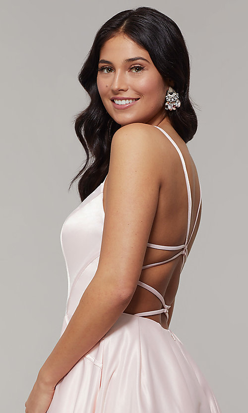 Image of scoop-neck long strappy-open-back prom dress. Style: JT-687 Detail Image 6