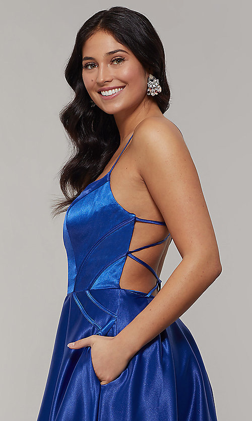 Image of scoop-neck long strappy-open-back prom dress. Style: JT-687 Detail Image 2