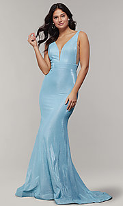 Image of v-neck glitter-crepe cut-out long formal prom dress. Style: JT-695 Front Image