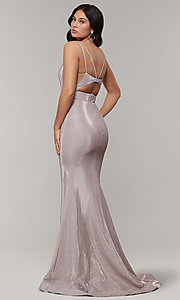 Image of v-neck glitter-crepe cut-out long formal prom dress. Style: JT-695 Detail Image 3