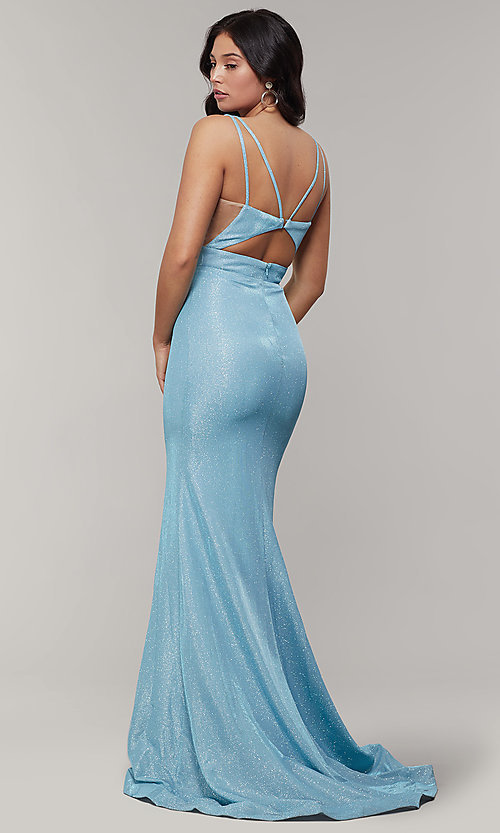 Image of v-neck glitter-crepe cut-out long formal prom dress. Style: JT-695 Back Image