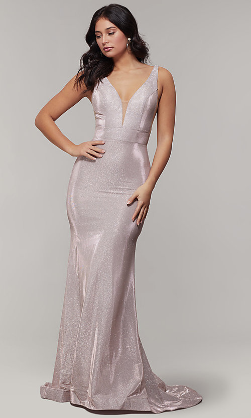 Image of v-neck glitter-crepe cut-out long formal prom dress. Style: JT-695 Detail Image 2