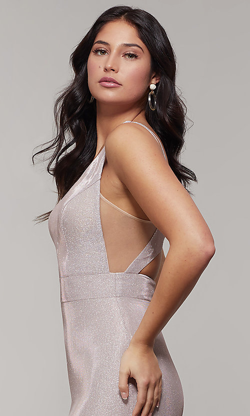 Image of v-neck glitter-crepe cut-out long formal prom dress. Style: JT-695 Detail Image 4