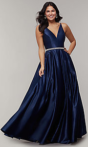 Image of satin sleeveless v-neck long formal dress. Style: JT-696 Front Image