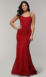 Image of mermaid-style long glitter-crepe formal prom dress. Style: JT-697 Detail Image 3