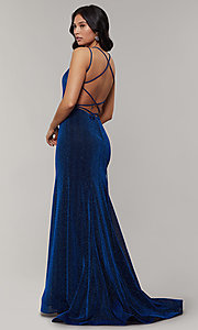 Image of mermaid-style long glitter-crepe formal prom dress. Style: JT-697 Detail Image 7