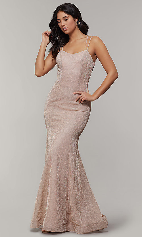 Image of mermaid-style long glitter-crepe formal prom dress. Style: JT-697 Back Image