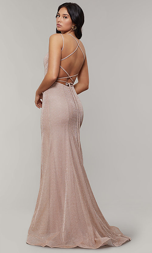 Image of mermaid-style long glitter-crepe formal prom dress. Style: JT-697 Front Image