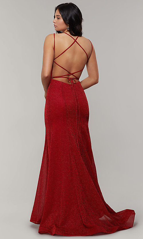 Image of mermaid-style long glitter-crepe formal prom dress. Style: JT-697 Detail Image 4