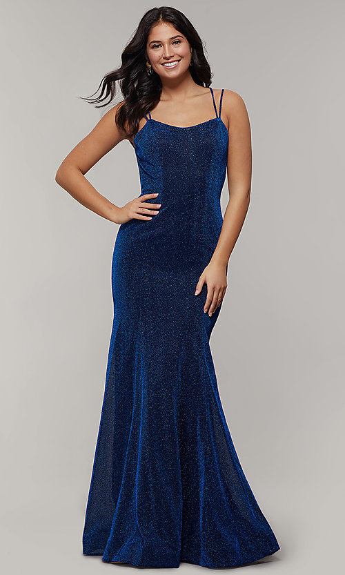Image of mermaid-style long glitter-crepe formal prom dress. Style: JT-697 Detail Image 6