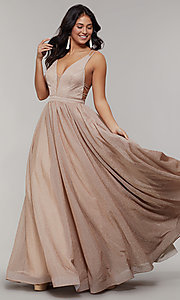 Image of deep-v-neck long sheer-inset glitter prom dress. Style: JT-201 Front Image