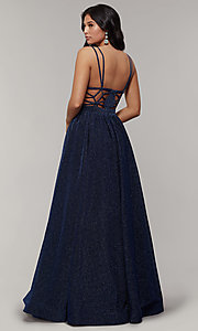 Image of deep-v-neck long sheer-inset glitter prom dress. Style: JT-201 Detail Image 2