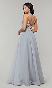 Image of deep-v-neck long sheer-inset glitter prom dress. Style: JT-201 Detail Image 5