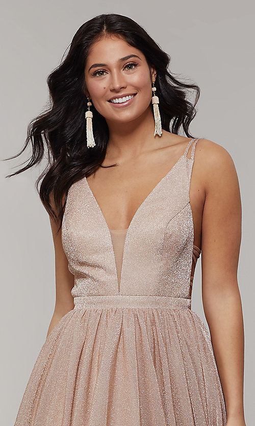 Image of deep-v-neck long sheer-inset glitter prom dress. Style: JT-201 Detail Image 1