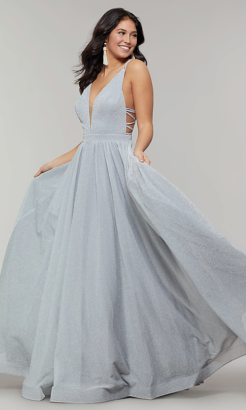 Image of deep-v-neck long sheer-inset glitter prom dress. Style: JT-201 Detail Image 6