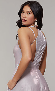 Image of magenta mauve long sparkly formal prom dress. Style: JT-203 Detail Image 2