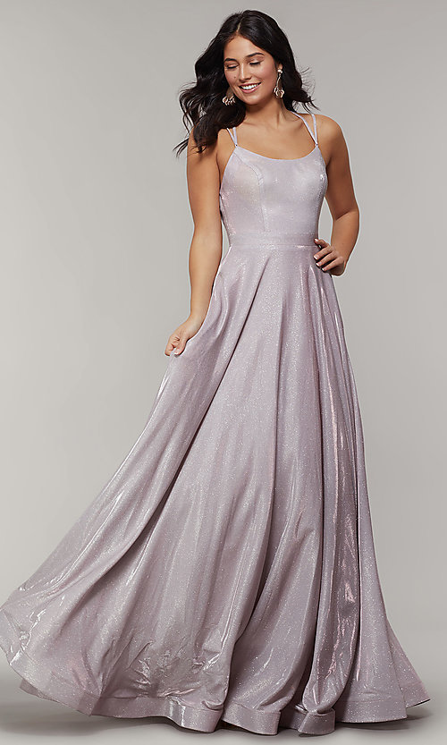 Image of magenta mauve long sparkly formal prom dress. Style: JT-203 Front Image