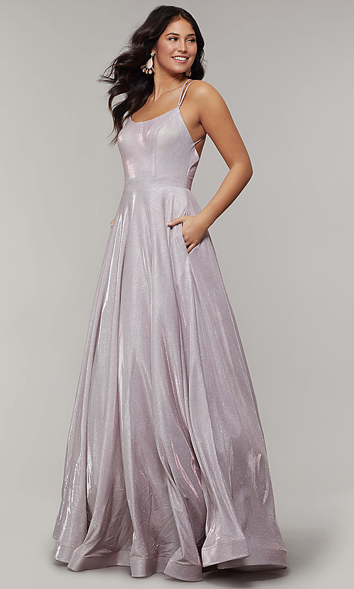 Image of magenta mauve long sparkly formal prom dress. Style: JT-203 Detail Image 3
