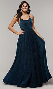 Image of scoop-neck long backless glitter-crepe prom dress. Style: JT-204 Front Image