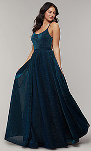 Image of scoop-neck long backless glitter-crepe prom dress. Style: JT-204 Detail Image 3