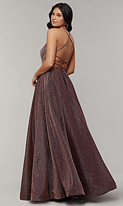 Image of scoop-neck long backless glitter-crepe prom dress. Style: JT-204 Detail Image 5