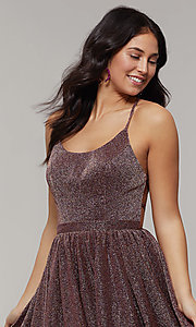 Image of scoop-neck long backless glitter-crepe prom dress. Style: JT-204 Detail Image 6
