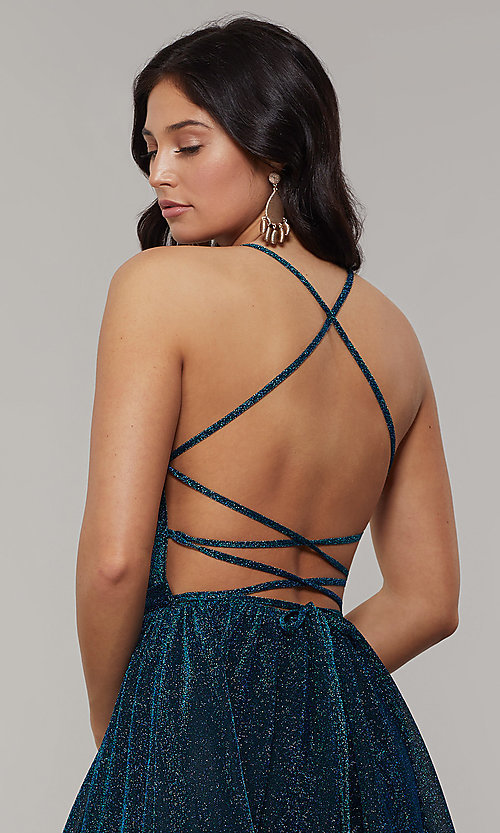 Image of scoop-neck long backless glitter-crepe prom dress. Style: JT-204 Detail Image 2