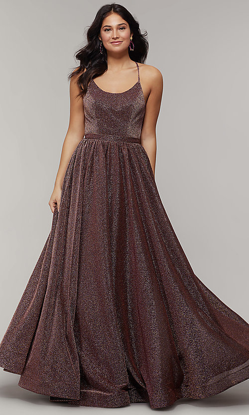 Image of scoop-neck long backless glitter-crepe prom dress. Style: JT-204 Detail Image 4