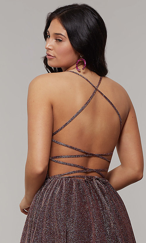 Image of scoop-neck long backless glitter-crepe prom dress. Style: JT-204 Detail Image 7