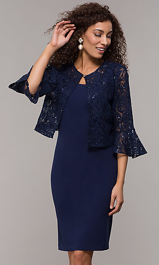 MOB Short Shift Dress with 3/4 Sleeve Lace Jacket