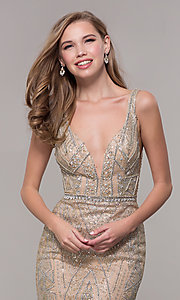 Image of open-back long beaded prom dress in champagne. Style: FB-GL2641 Detail Image 1