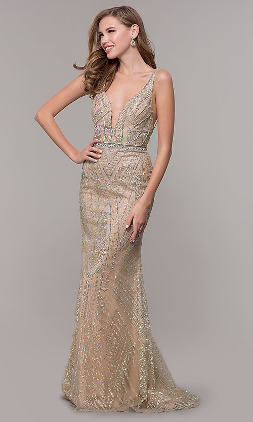Image of open-back long beaded prom dress in champagne. Style: FB-GL2641 Front Image