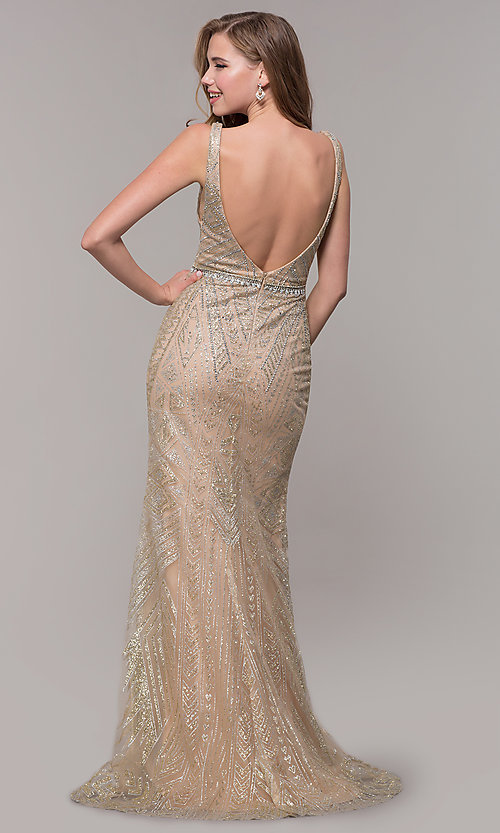 Image of open-back long beaded prom dress in champagne. Style: FB-GL2641 Back Image