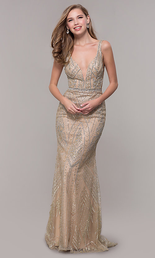 Image of open-back long beaded prom dress in champagne. Style: FB-GL2641 Detail Image 3