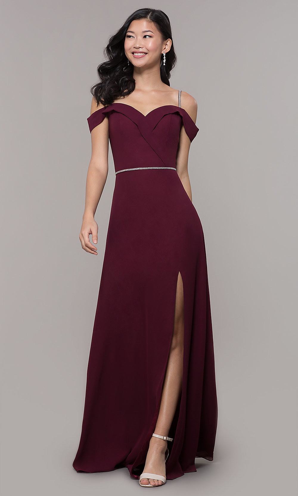 3c2b3b7bf3 Cold-Shoulder Long Formal Dress with Beaded Straps
