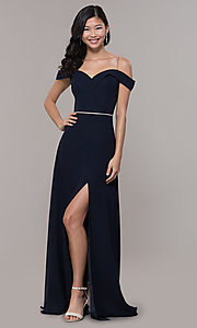 Image of cold-shoulder long formal dress with rhinestones. Style: FB-GL2665 Detail Image 4