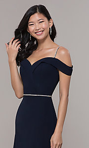 Image of cold-shoulder long formal dress with rhinestones. Style: FB-GL2665 Detail Image 6