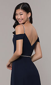 Image of cold-shoulder long formal dress with rhinestones. Style: FB-GL2665 Detail Image 7
