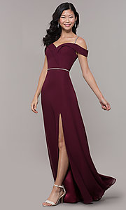 Image of cold-shoulder long formal dress with rhinestones. Style: FB-GL2665 Detail Image 3