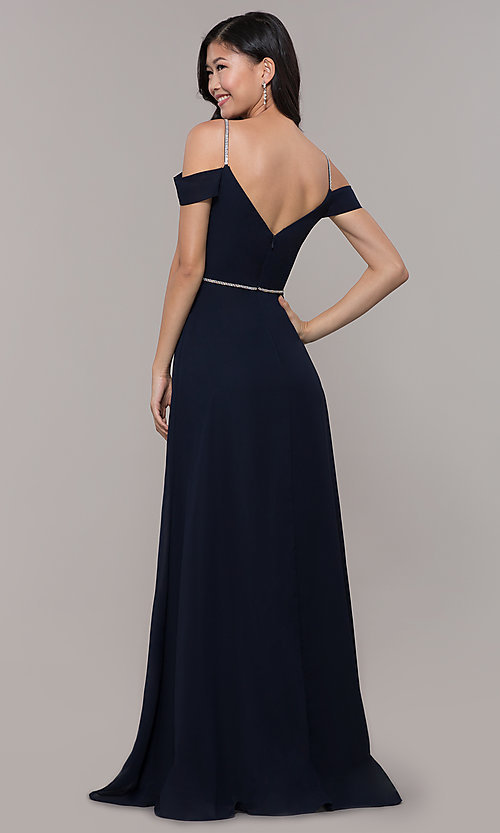 Image of cold-shoulder long formal dress with rhinestones. Style: FB-GL2665 Detail Image 5