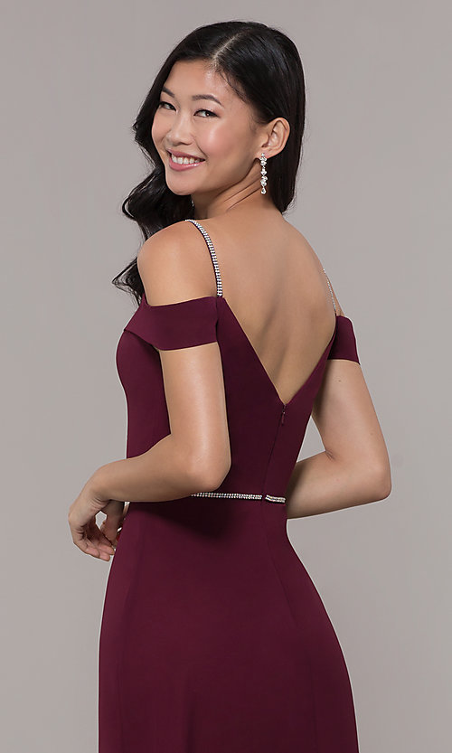 Image of cold-shoulder long formal dress with rhinestones. Style: FB-GL2665 Detail Image 2